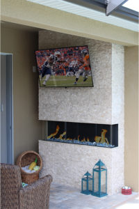 Rock wall with tv