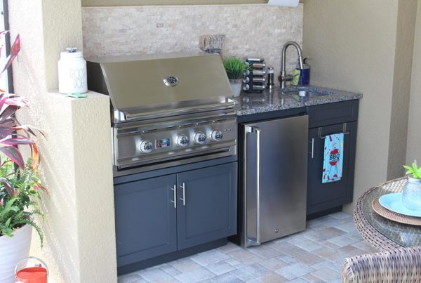 Ourdoor Kitchen Construction Project Tampa Florida - Custom Cabinets and Grill