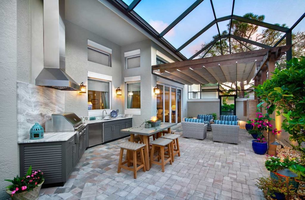 beautiful luxury outdoor kitchen and living space Synergy Outdoor