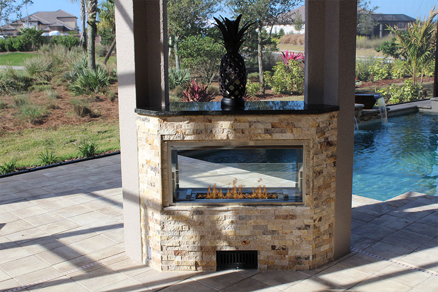 Outdoor Kitchen with Custom Fire Feature - Synergy Outdoor ... on Synergy Outdoor Living id=25744