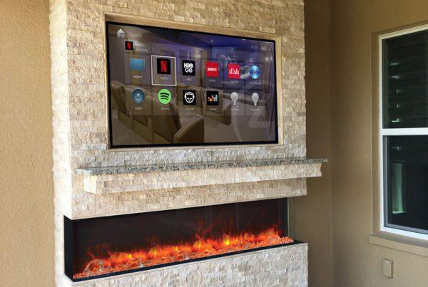 Custom Built In Rock Wall Outdoor TV