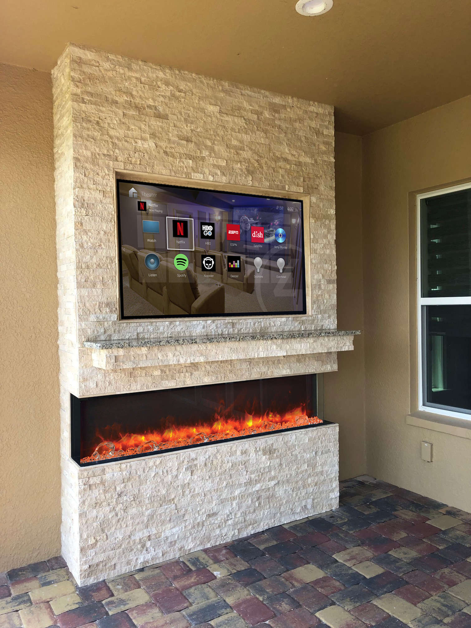 Rock Wall, TV and Fireplace Combo - Synergy Outdoor Living on Synergy Outdoor Living id=27357