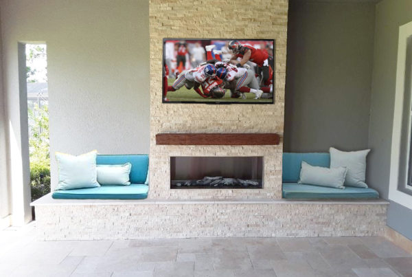 Custom Built In Outdoor Fire Feature with TV