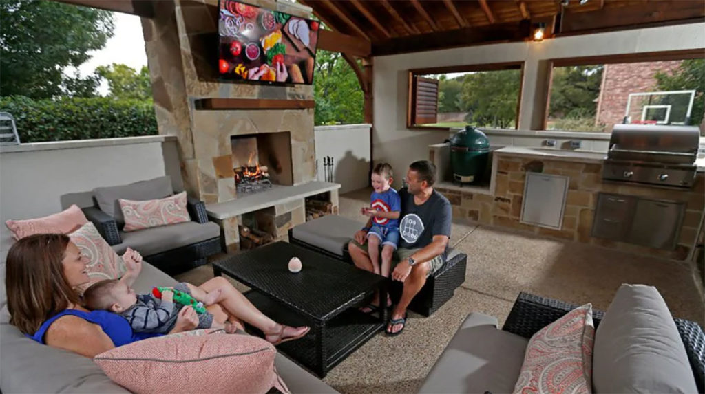 family safe at home outdoor kitchen area